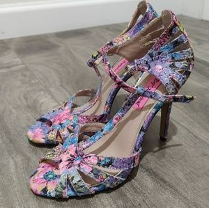 Betsey Johnson floral embroidery ankle strap heels